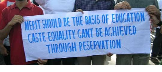 caste based reservations Reconsideration of caste based reservation is not aimed at denying the disadvantaged of any benefits but to speed up their upliftment.