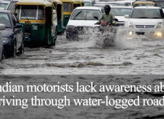 Indian motorists lack awareness about driving through water-logged roads in India